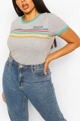 boohoo Plus Miami Rainbow Slogan Ringer T-Shirt