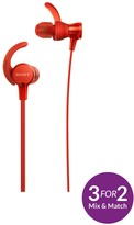 Sony MDR-XB510AS Sports Extrabass Splashproof Sports In-Ear Headphones - Red