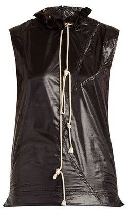 Calvin Klein Ruffle-trimmed Drawstring-neck Top - Black