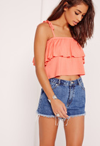 Missguided Frill Layered Strappy Crop Top Orange