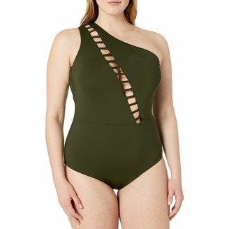Becca Etc Women's Plus Size Making The Cut Asymmetrical One Piece Swimsuit