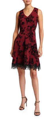 Donna Ricco Floral Burnout Velvet Fit-&-Flare Dress