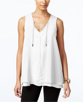 NY Collection Chain Lace-Up Top