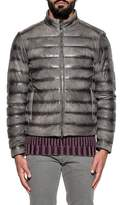Tod's Men's Grey Leather Outerwear Jacket.