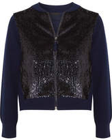 J.Crew Sequined Tulle And Wool Bomber Jacket - Navy