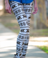 Brown Reindeer Fair Isle Leggings