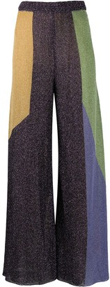 M Missoni Color Block Flared Lurex Trousers