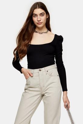 Topshop Womens Black Long Sleeve Square Neck Puff Top - Black