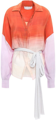 Esteban Cortazar Oversized Degrade Silk Crepe De Chine Shirt