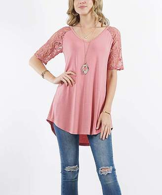 Lydiane Women's Tunics DUSTYROSE - Dusty Rose V-Neck Lace-Sleeve Curved-Hem Tunic - Women