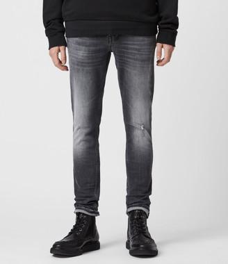 AllSaints Cigarette Damaged Skinny Jeans, Faded Black