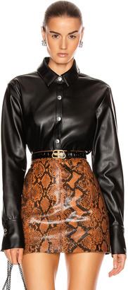 Alexander Wang Faux Leather Shirt in Black | FWRD