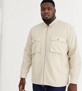 Asos Design DESIGN Plus zip through overshirt in ecru with double pockets