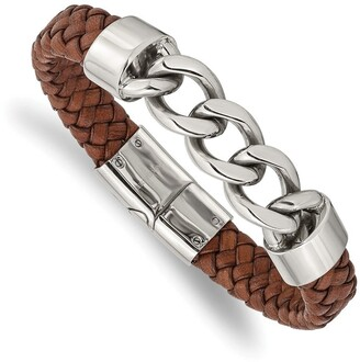 Chisel Stainless Steel Polished Chain and Brown Leather 8.25 Inch Bracelet