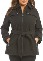MICHAEL Michael Kors Zip Front Belted Soft Shell Jacket