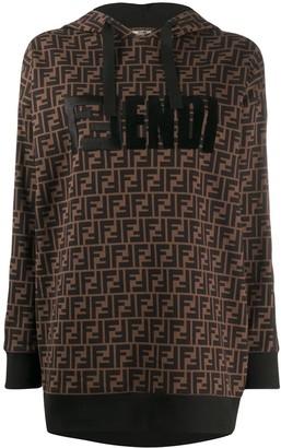 Fendi FF motif print hoodie