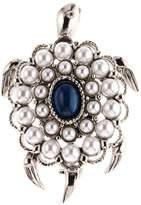 Oscar de la Renta Imitation Pearl & Swarovski Crystal Embellished Turtle Brooch