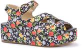 C Label Black & Pink Floral Davita Platform Sandal
