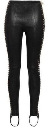 Balmain Studded Leather Stirrup Skinny Pants