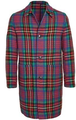 Ami Multi Color Plaid Wool Topcoat