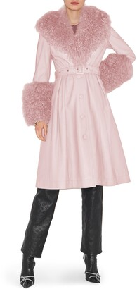 Saks Potts Belted Leather & Genuine Shearling Coat
