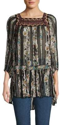 Free People Mixed-Print High-Low Tunic