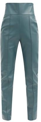 Alexandre Vauthier High-rise Leather Slim-leg Trousers - Blue