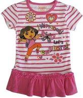 Nickelodeon Little Girls Stripe Dora The Explorer Print Ruffle Top