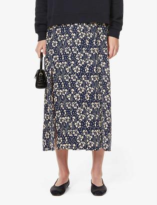 Rixo Georgia floral-print silk-crepe midi skirt