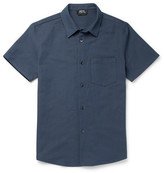A.P.C. Bryan Basketweave Cotton And Linen-blend Shirt - Navy