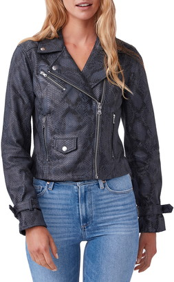Paige Ashby Textured Snake Print Leather Moto Jacket