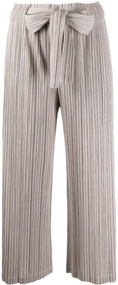 Pleats Please Issey Miyake Cropped Micro-Pleated Trousers