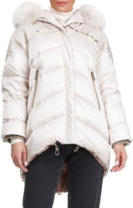Gorski Apres-Ski Sequin High-Low Fox Fur Jacket