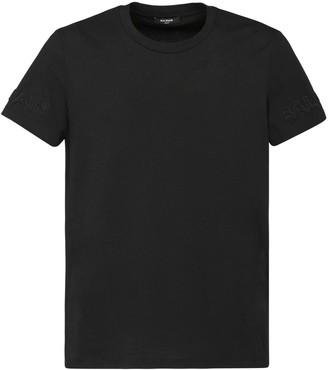 Balmain Embossed Logo Cotton Jersey T-shirt