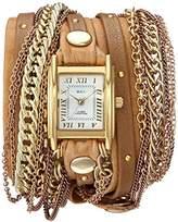 La Mer Women's Quartz Metal and Leather Casual Watch, Color:Beige (Model: LMDUOSTUD003)
