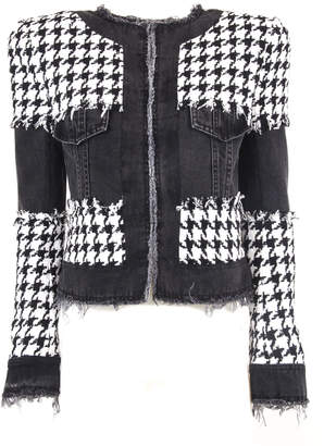 Balmain Black And White Tweed And Denim Suit Jacket
