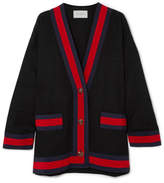 Gucci Grosgrain-trimmed Cotton-blend Tweed Cardigan - Black