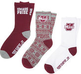 PINK University Of Massachusetts 3-Pack Crew Socks