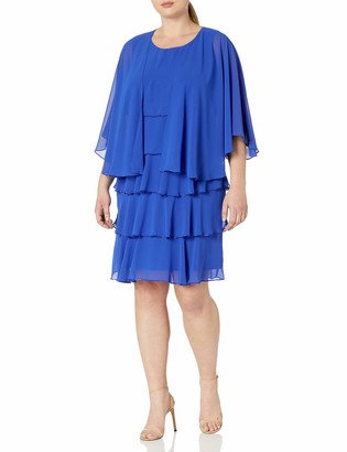 SL Fashions Women's Plus-Size Illusion Trimmed Jacket Over Jeweled Dress