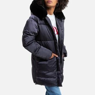 Schott Jktkeaw Padded Puffer Jacket with Faux Fur Hood