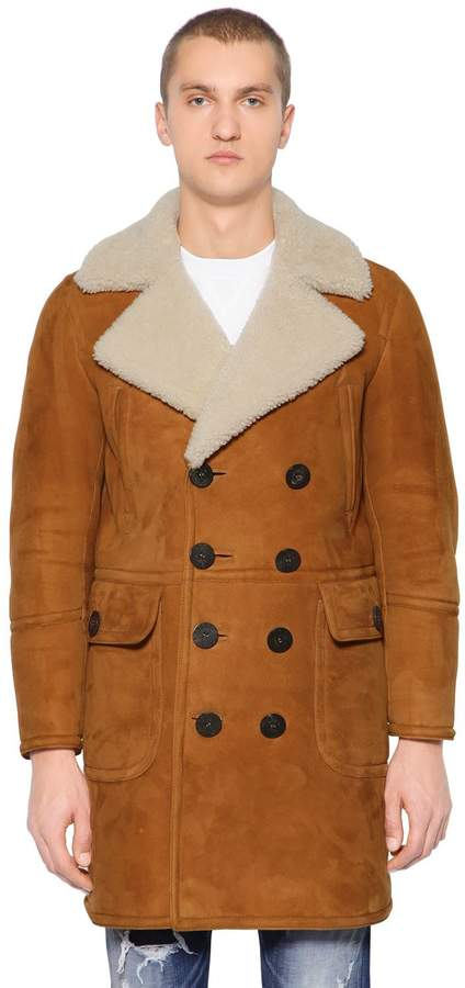 DSQUARED2 Double Breasted Shearling Coat