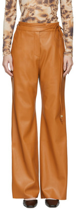 Nanushka Orange Vegan Leather Chino Trousers