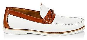 Saks Fifth Avenue Men's COLLECTION BY MAGNANNI Braided Loop Cross Strap Leather Boat Shoes