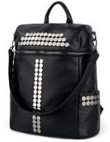 UTO Women Backpack Purse 3 ways Rivet Studded PU Washed Leather Ladies Rucksack Shoulder Bag