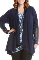 Karen Kane Plus Size Women's Faux Leather Trim Drape Cardigan
