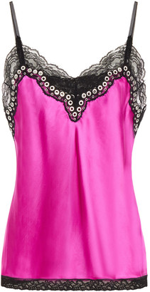 Alexander Wang Eyelet And Lace-trimmed Satin Camisole