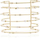 Nancy Newberg Yellow Gold 6 Row Cuff with Pearls and Diamonds