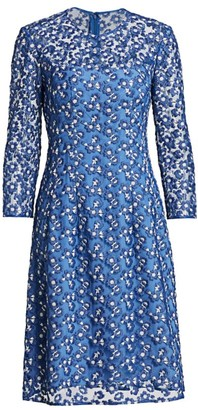 Lela Rose Holly Floral-Embroidered Dress