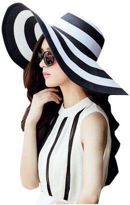 Drawihi Women's Sun Hat Large Wide Brim Cap Stripe Summer Sun Hat for Wedding Party Beach Travel Outgoing(Black and White)