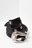 7 For All Mankind B-Low The Belt Baby Frank Velvet Belt In Black And Silver